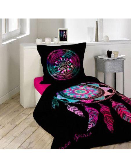 Parure de lit 1 personne Porte Bonheur - 140 x 200 cm - Coton