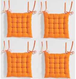 Galette de chaise matelassée - Lot de 4 - 40 x 40 cm - Mandarine