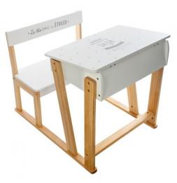 Pupitre d'écriture en bois avec assise et bureau - Blanc - Meuble pour enfant