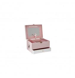 Boîte à bijoux musicale avec miroir - Licorne  - Rose
