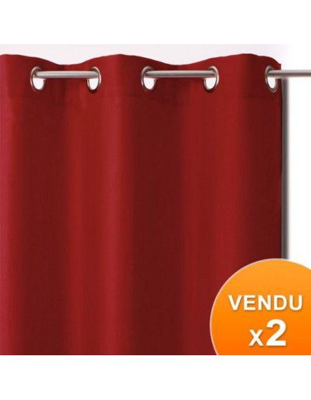 Rideaux occultants - Rouge - Lot de 2 panneaux à oeillets