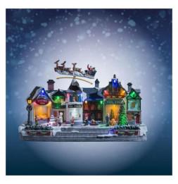 Boutiques enneigées et éclairées LED - Décoration village de Noël