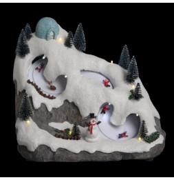 Course de luge motorisée sur la montagne LED - Décoration village de Noël