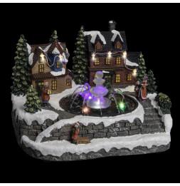 Fontaine de Noël éclairée LED - Décoration village de Noël