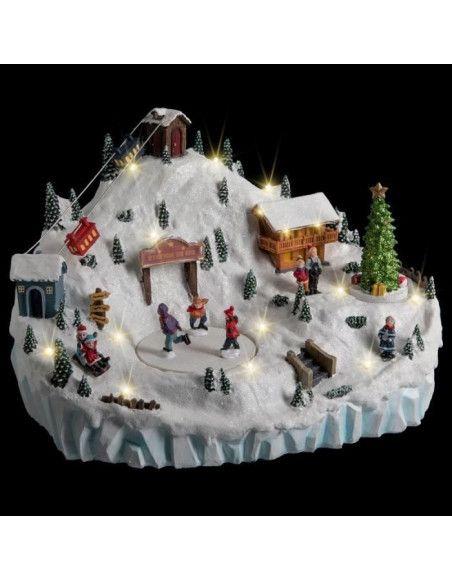 Station de ski animée et éclairée LED - Décoration village de Noël