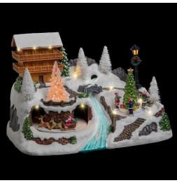 Grand chalet animé et éclairé LED et fibre optique - Décoration village de Noël