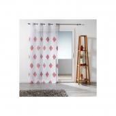 Panneau à oeillets - 140 x 240 cm - Voile brodé - Kamina - Blanc et rouge corail