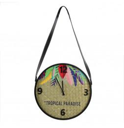 Horloge ronde motif exotique avec sangle - D 30 cm