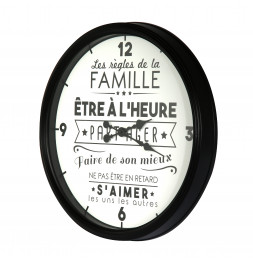 """Horloge ronde - """"La vie en famille"""" - D 50 cm"""