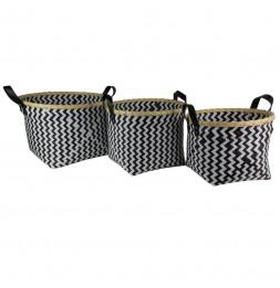 Lot de 3 panier tresse avec bambou - Tailles différentes - Noir