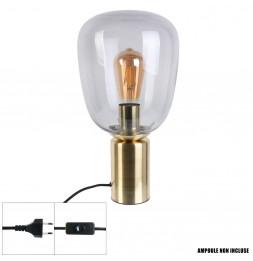 Lampe à poser - 36 x 19 x 19 cm - Gris - Socle doré brossé
