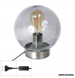 Lampe à poser - 22 x 20 x 20 cm - Gris - Socle argent