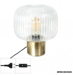 Lampe à poser - 30 x 25 x 25 cm - Transparent et doré
