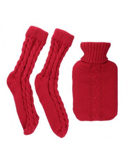 Chaussettes côtelées et bouillotte laine - 1L - Modèle aléatoire