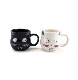 Lot de 2 mugs chat - D 8 cm x H 8 cm - Noir et Blanc