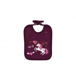 Bavoir Licorne en coton - L 27 x l 22 cm - Violet