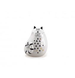 Chat décoratif - H 14 cm - Blanc