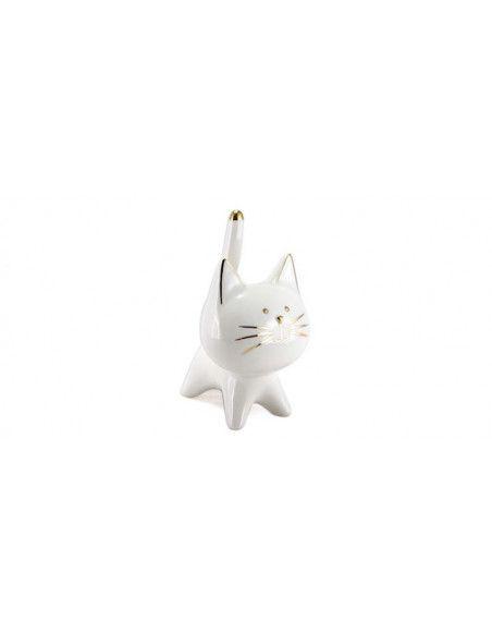 Chat décoratif en céramique - l 9,8 x H 15,3 cm - Blanc