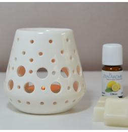 Brûle parfum Loob - D 9 x H 9 cm - Blanc