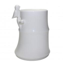 Brûle parfum Bambou - L 9 x l 8,,5 x H 12 cm - Blanc