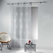 Panneau à oeillets - 140 x 240 cm - Voile Brode ezia - Blanc