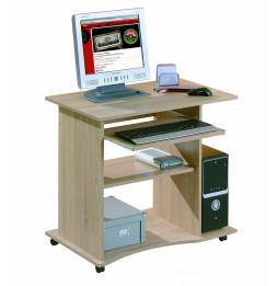 Bureau compact à roulettes - Durini - Desserte informatique en bois