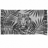 Tapis à franges en coton - Rectangle - 50 x 80 cm - Imprimé shivana - Noir et blanc