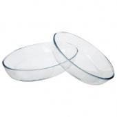 Lot de 2 plats ovales en verre - Tailles différentes