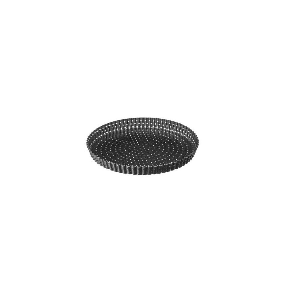 Plat à tarte perforé et fond amovible - D 28 x H 3 cm - Métal