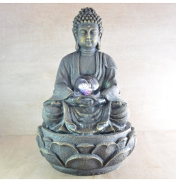Fontaine Feng Shui Grand Bouddha Méditation - D 21 x H 30 cm - Polyrésine
