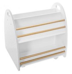 Bibliothèque basse à roulettes - L 47,5 x l 40 x H 50 cm - Blanc et Doré