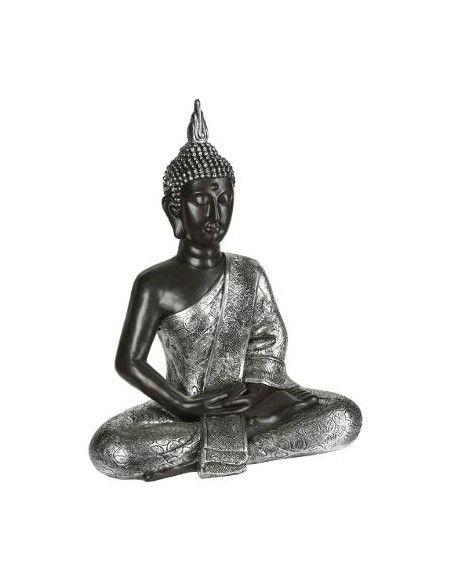 Statue Bouddha méditation - L 52 x l 30 x 63 cm - Marron et Argenté
