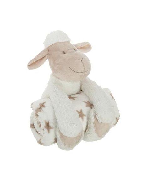 Doudou mouton + plaid - L 75 x l 100 cm - Blanc