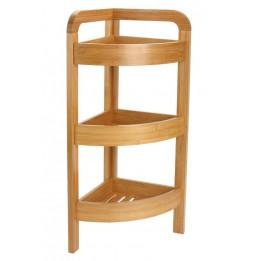 Etagère d'angle en bambou à 3 niveaux - Meuble de rangement