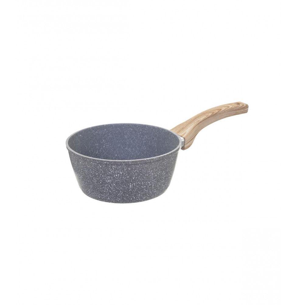 Casserole en aluminium - D. 16 cm - Effet pierre grise