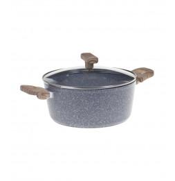 Faitout en aluminium - D. 24 cm - Effet pierre grise