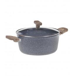Faitout en aluminium - D. 28 cm - Effet pierre grise