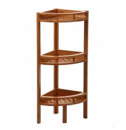 Etagère d'angle en bambou à 3 niveaux - 4 pieds - Meuble de rangement
