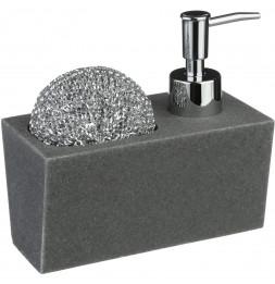 Distributeur de savon avec porte éponge - 17 cl - Imitation pierre