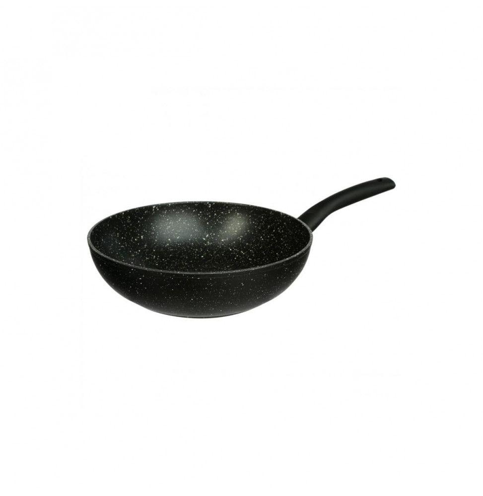 Wok en aluminium - D. 28 cm - Effet pierre noire