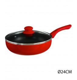Sauteuse en aluminium - D. 24 cm - À induction - Rouge