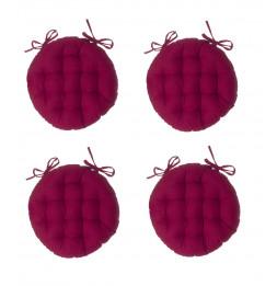 Galette de chaise ronde - Lot de  4 - D 38 cm - Rouge-violet