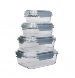 Lot de 4 boîtes de conservation rectangulaires en verre - Tailles différentes