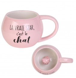 Mug en céramique chat 3D - 45 cl - Rose