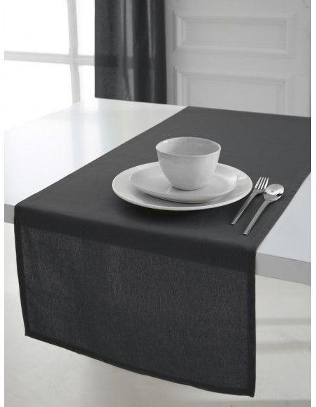 Chemin de table coton 50 x 150 cm - Gris anthracite - Linge de table