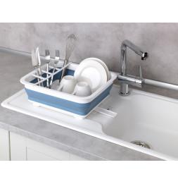 Égouttoir à vaisselle Gaia pliable - Blanc/bleu