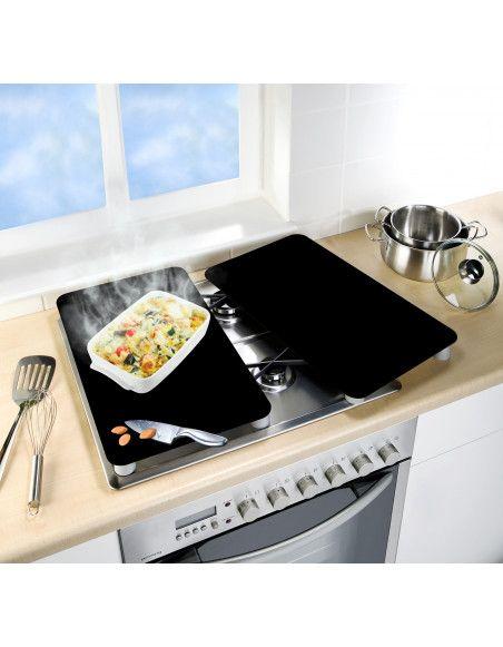 Lot de 2 plaques de protection en verre pour cuisinière - Noir - Universel