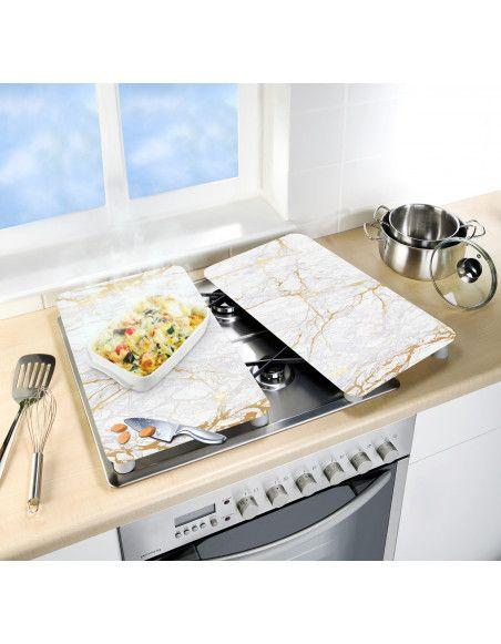 Lot de 2 plaques de protection en verre pour cuisinière - Marbre or - Universel