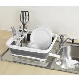 Égouttoir à vaisselle pliable - Blanc/gris