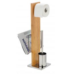 Combiné WC dérouleur papier et brosse WC - Portofino - Bambou